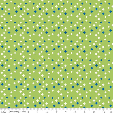 Oh Happy Day! Diamonds C10314 Green - Riley Blake Designs - Scattered Blue Cream Diamonds on Green - Quilting Cotton Fabric