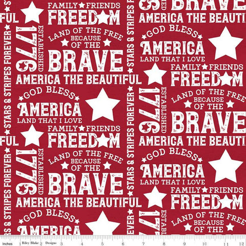 SALE Let Freedom Soar Text C10520 Red - Riley Blake Designs - Patriotic Words Phrases Off-White on Red - Quilting Cotton Fabric