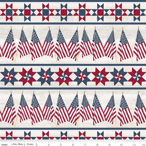 SALE Let Freedom Soar Border Stripe C10522 Off White - Riley Blake Designs - Patriotic Flags Patchwork Stars - Quilting Cotton Fabric