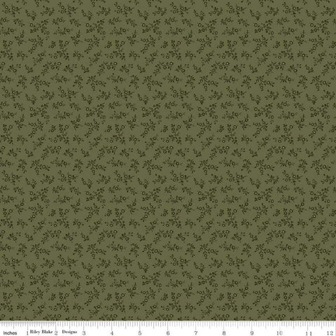 Anne of Green Gables Floral C10603 Moss - Riley Blake Designs - Flowers Sprigs Tone-on-Tone Green - Quilting Cotton