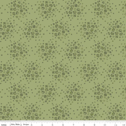 Anne of Green Gables Blossom C10605 Basil - Riley Blake Designs - Floral Flowers Tone-on-Tone Green - Quilting Cotton