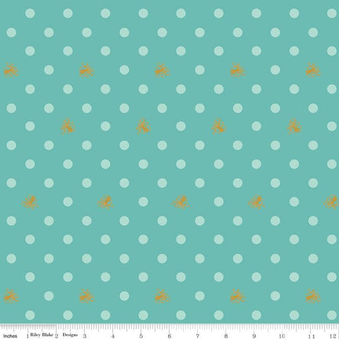 SALE Ahoy! Mermaids Octo Dots SC10345 Seafoam SPARKLE - Riley Blake - Polka Dots Gold SPARKLE Octopus Blue Green - Quilting Cotton Fabric