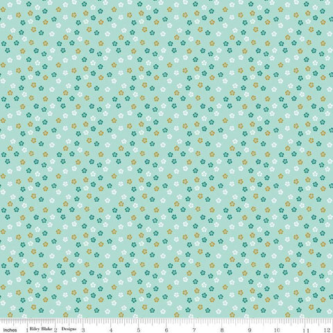 SALE Ahoy! Mermaids Floral SC10346 Seafoam SPARKLE - Riley Blake Designs - Small Flowers Gold SPARKLE Blue Green - Quilting Cotton Fabric