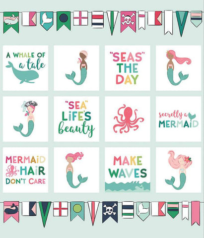 SALE Ahoy! Mermaids Panel P10348 - by Riley Blake Designs - Mermaid Phrases Sayings Text Bunting - Quilting Cotton Fabric