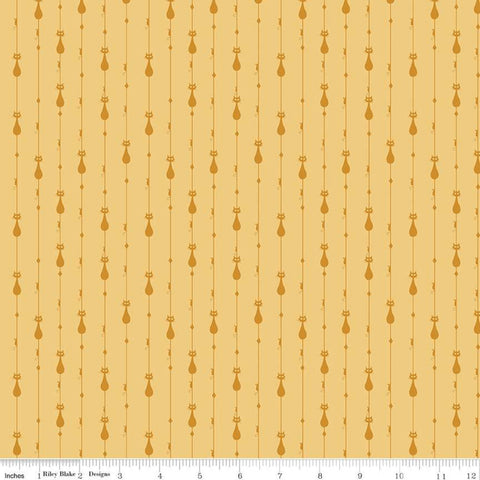 SALE Mod Meow Stripes C10282 Honey - Riley Blake Designs - Cat Cats Striped Stripe Mice Diamonds Yellow Gold - Quilting Cotton Fabric