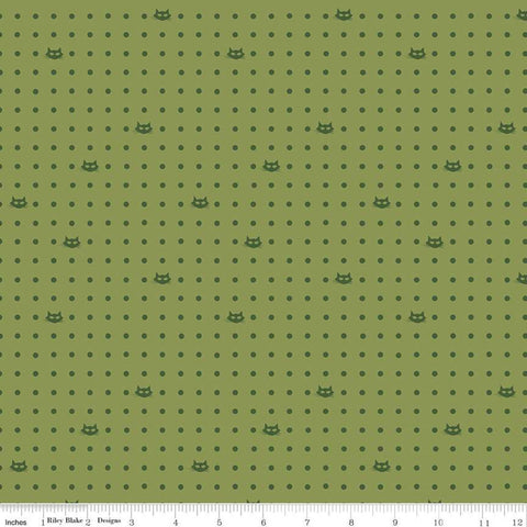 SALE Mod Meow Dots C10283 Olive - Riley Blake Designs - Cat Cats Polka Dots Dotted Dot Green - Quilting Cotton Fabric