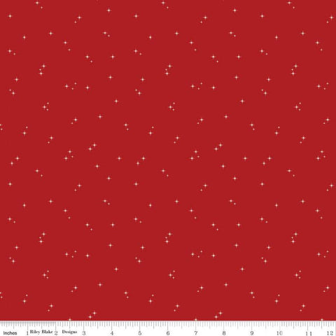 Mod Meow Stars C10284 Barn Red - Riley Blake Designs - Cat Cats Star Clusters - Quilting Cotton Fabric