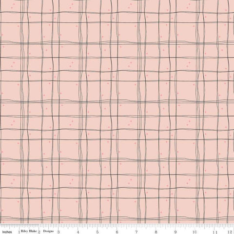 SALE Mod Meow Plaid C10285 Blush - Riley Blake Designs - Cat Cats Sketched Lines Irregular Grid Stars Pink - Quilting Cotton Fabric