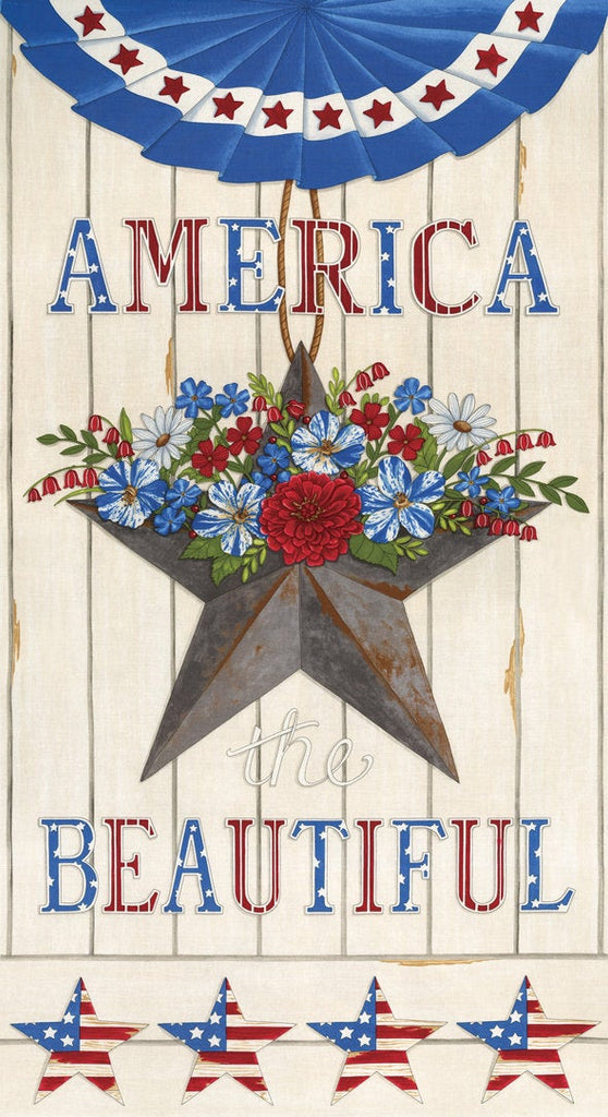 America the Beautiful Panel 19980 White - Moda - Patriotic Americana Stars Flowers Bunting Off-White  - Deb Strain - Quilting Cotton Fabric