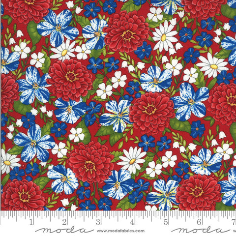 America the Beautiful Patriotic Posies 19982 Barnwood Red - Moda Fabrics - Patriotic Americana Floral - Deb Strain - Quilting Cotton Fabric