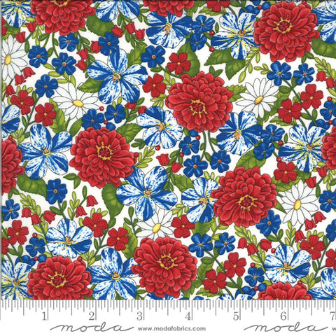 America the Beautiful Patriotic Posies 19982 White - Moda Fabrics - Patriotic Americana Floral Flowers - Deb Strain - Quilting Cotton Fabric