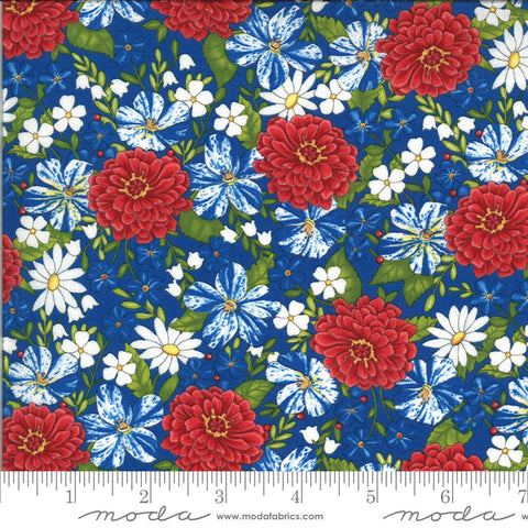 America the Beautiful Patriotic Posies 19982 Lake Blue - Moda Fabrics - Patriotic Americana Floral - Deb Strain - Quilting Cotton Fabric