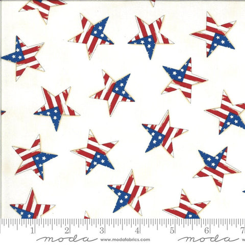 America the Beautiful Tossed Flag Star 19988 White - Moda Fabrics - Patriotic Americana - Deb Strain - Quilting Cotton Fabric