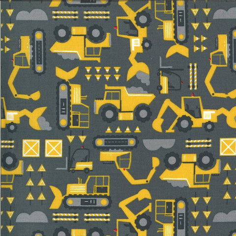 On the Go Let's Build 20724 Asphalt - Moda - Construction Excavators Front Loaders Trucks Juvenile Grey Gray - Quilting Cotton Fabric