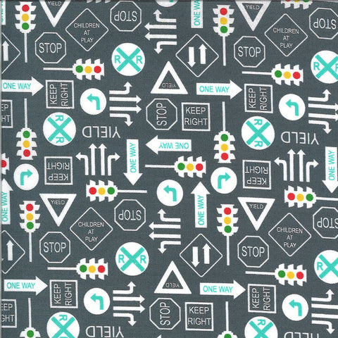 On the Go It's a Sign 20725 Asphalt - Moda - Road Signs Stop Lights Yield Railroad Crossing Juvenile Gray Grey - Quilting Cotton Fabric