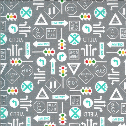 On the Go It's a Sign 20725 Steel - Moda - Road Signs Stop Lights Yield Railroad Crossing Juvenile Gray Grey - Quilting Cotton Fabric