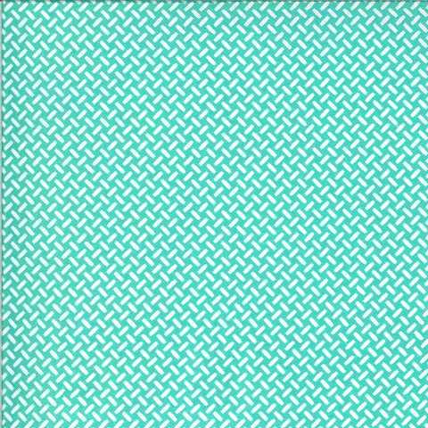On the Go Eat My Tread 2078 Jet Stream - Moda Fabrics - Tracks Geometric Juvenile Turquoise with Off-White - Quilting Cotton Fabric
