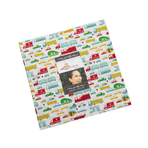 "On the Go Layer Cake 10"" Stacker Bundle - Moda Fabrics - 42 piece Precut Pre cut - Juvenile Transportation - Quilting Cotton Fabric"
