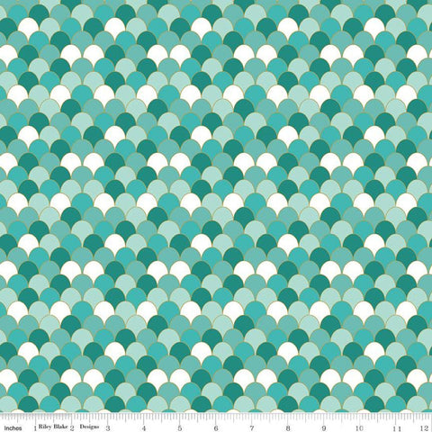 SALE Ahoy! Mermaids Scales SC10345 Seafoam SPARKLE - Riley Blake Designs - Clamshells Green White with Gold SPARKLE - Quilting Cotton Fabric