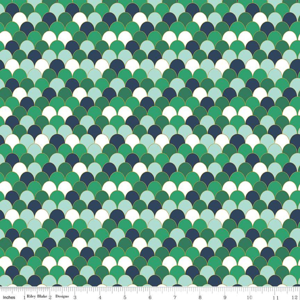 Ahoy! Mermaids Scales SC10345 Green SPARKLE - Riley Blake Designs - Clamshells Green White Blue with Gold SPARKLE  - Quilting Cotton Fabric