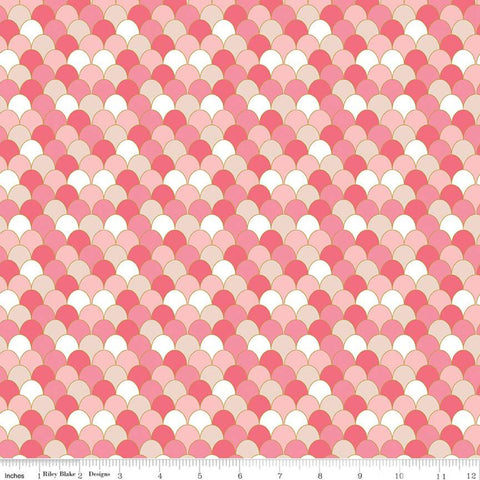 Ahoy! Mermaids Scales SC10345 Coral SPARKLE - Riley Blake - Clamshells Orange Pink White with Gold SPARKLE - Quilting Cotton Fabric