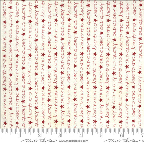 American Gathering Old Glory 49120 Cream Red - Moda Fabrics - Americana Patriotic Text Words Stars Red on Cream - Quilting Cotton Fabric