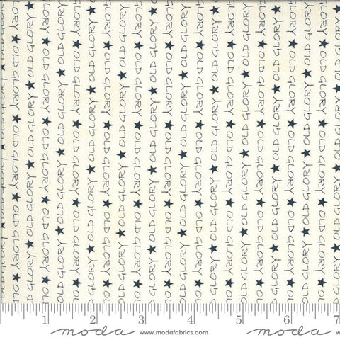 American Gathering Old Glory 49120 Cream Navy - Moda Fabrics - Americana Patriotic Text Words Stars Blue on Cream - Quilting Cotton Fabric