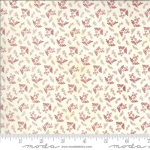 American Gathering Laurel Leaf 49122 Cream Red - Moda Fabrics - Americana Patriotic Floral Sprigs Red on Cream - Quilting Cotton Fabric