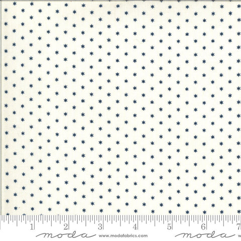 American Gathering Star 49123 Cream Navy - Moda Fabrics - Americana Patriotic Blue Stars on Cream - Quilting Cotton Fabric