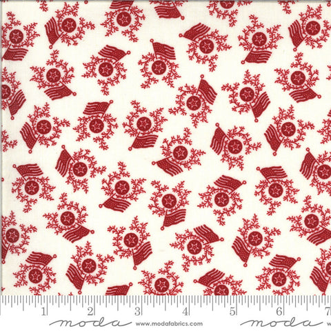 American Gathering Flag Day 49125 Cream Red - Moda Fabrics - Americana Patriotic Flags Sprigs Stars Red on Cream  - Quilting Cotton Fabric