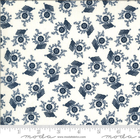 American Gathering Flag Day 49125 Cream Navy - Moda Fabrics - Americana Patriotic Flags Sprigs Stars Blue on Cream  - Quilting Cotton Fabric