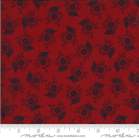 American Gathering Flag Day 49125 Red Navy - Moda Fabrics - Americana Patriotic Flags Sprigs Stars Blue on Red  - Quilting Cotton Fabric