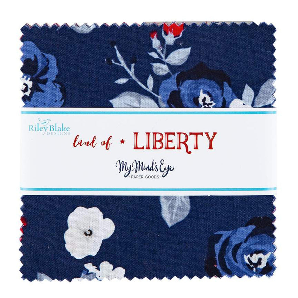 Riley Blake Celebrate America 42 Piece Charm Pack Manufacturers Cuts 5 inch Squares  Great Patriotic Look