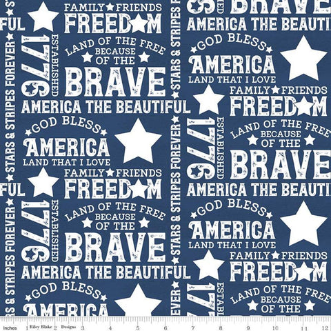 SALE Let Freedom Soar Text C10520 Blue - Riley Blake Designs - Patriotic Words Phrases Off-White on Blue - Quilting Cotton Fabric