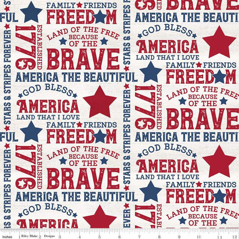 SALE Let Freedom Soar Text C10520 Off White - Riley Blake Designs - Patriotic Words Phrases Blue Red on Off-White - Quilting Cotton Fabric