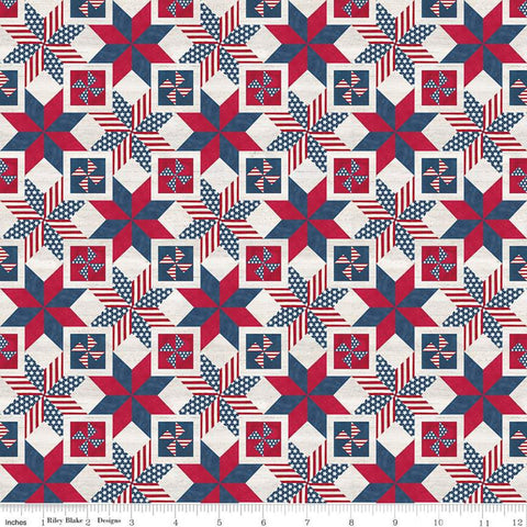 SALE Let Freedom Soar Quilt Blocks C10524 Multi- Riley Blake Designs - Patriotic Patchwork Stars Red Blue Off-White - Quilting Cotton Fabric
