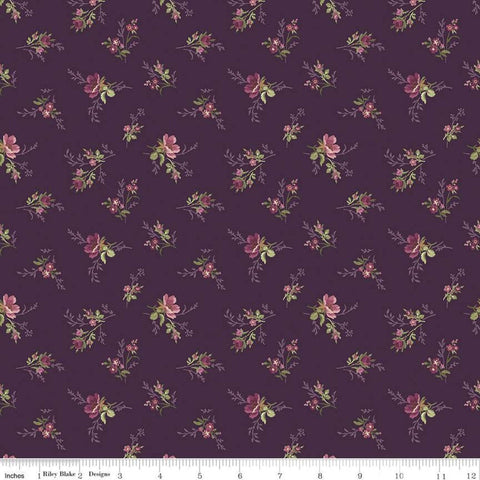 Anne of Green Gables Bouquet C10602 Eggplant - Riley Blake Designs - Flowers Floral Sprigs Purple - Quilting Cotton