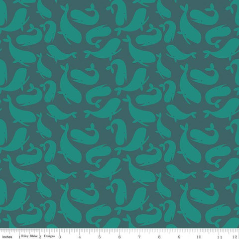 Ahoy! Mermaids Whales C10341 Ocean - Riley Blake Designs - Children's Juvenile Blue Green -  Quilting Cotton Fabric
