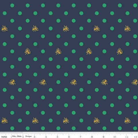 SALE Ahoy! Mermaids Octo Dots SC10345 Navy SPARKLE - Riley Blake Designs - Polka Dots Gold SPARKLE Octopus Blue - Quilting Cotton Fabric