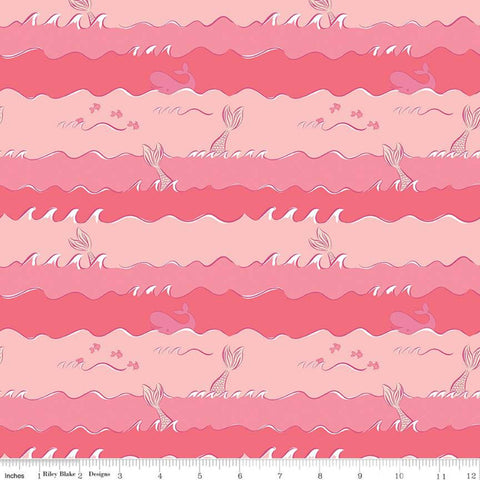 SALE Ahoy! Mermaids Oceans C10344 Coral - Riley Blake Designs - Mermaid Tails Striped Stripes Juvenile Pink Orange - Quilting Cotton Fabric