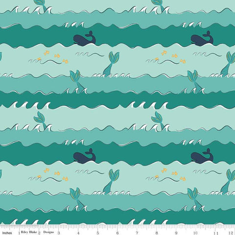 SALE Ahoy! Mermaids Oceans C10344 Seafoam SPARKLE - Riley Blake - Blue Green Stripes Mermaid Tails Gold SPARKLE - Quilting Cotton Fabric