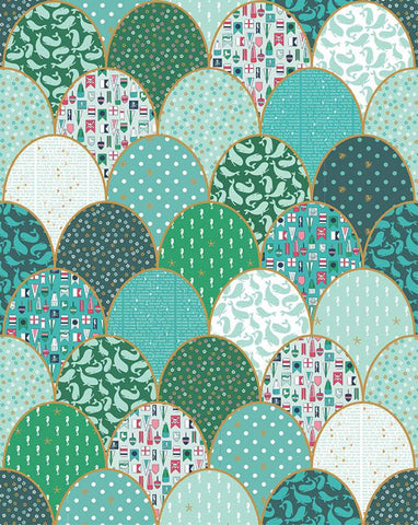 SALE Ahoy! Mermaids Clamshell Cheater Panel SP10347 Green SPARKLE by Riley Blake Designs - Geometric Gold SPARKLE - Quilting Cotton Fabric