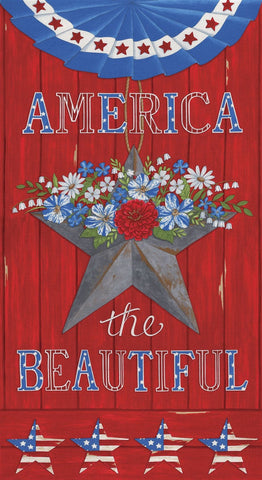 America the Beautiful Panel 19980 Barnwood Red - Moda - Patriotic Americana Stars Flowers Bunting  - Deb Strain - Quilting Cotton Fabric