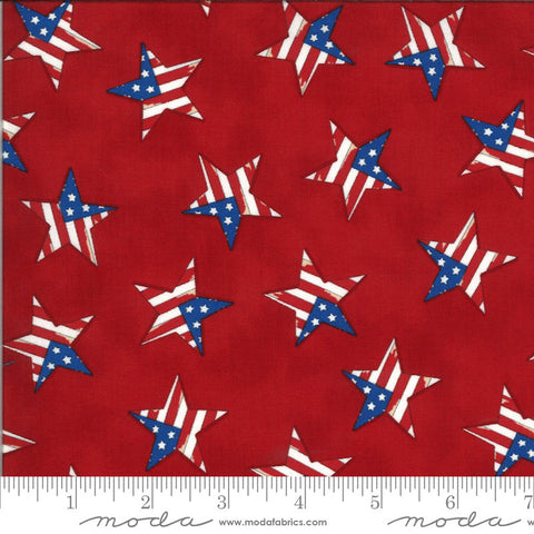 America the Beautiful Tossed Flag Star 19988 Barnwood Red - Moda Fabrics - Patriotic Americana - Deb Strain - Quilting Cotton Fabric