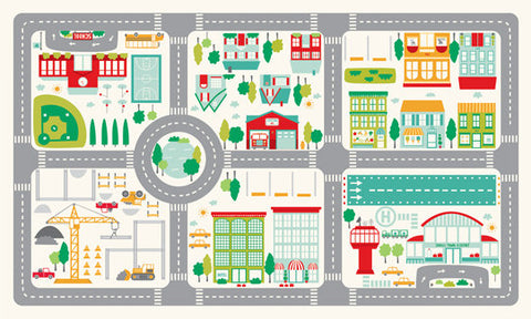 On the Go CANVAS Playmat Panel 20720 - Moda - Road Map Streets Roads Buildings Playtime Juvenile - Cotton CANVAS Fabric