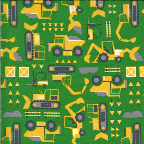 On the Go Let's Build 20724 Green Light - Moda Fabrics - Construction Excavators Front Loaders Trucks Juvenile - Quilting Cotton Fabric