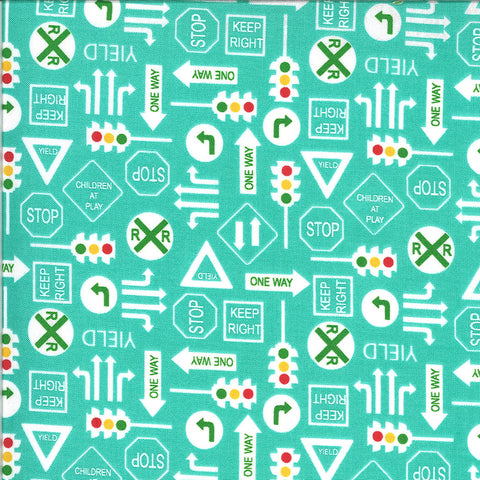 On the Go It's a Sign 20725 Jet Stream - Moda - Road Signs Stop Lights Yield Railroad Crossing Juvenile Turquoise - Quilting Cotton Fabric