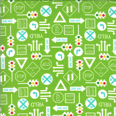 On the Go It's a Sign 20725 Grass - Moda Fabrics - Road Signs Stop Lights Yield Railroad Crossing Juvenile Green - Quilting Cotton Fabric