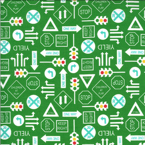 On the Go It's a Sign 20725 Green Light - Moda Fabrics - Road Signs Stop Lights Yield Railroad Crossing Juvenile - Quilting Cotton Fabric