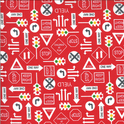 On the Go It's a Sign 20725 Red Light - Moda Fabrics - Road Signs Stop Lights Yield Railroad Crossing Juvenile - Quilting Cotton Fabric